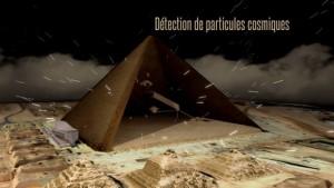 Détection de particules cosmiques par la technologie des muons, révélant la présence de structures à l'intérieur d'une pyramide sans la toucher.