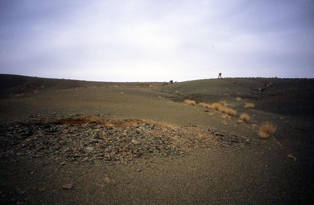 Site de Bou Izargane, avec les trous/excavations réalisés par Ben Saïd dans les niveaux à préservation eexceptionnelle