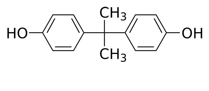 « Bisphenol A » par Calvero. — Selfmade with ChemDraw.. Sous licence Domaine public via Wikimedia Commons - http://commons.wikimedia.org/wiki/File:Bisphenol_A.svg#mediaviewer/File:Bisphenol_A.svg